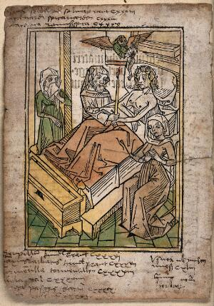 view A priest gives a dying man his last rites. Coloured woodcut, 1493.
