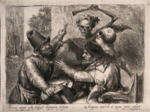 view A fatal fight between two men is caused by a game of cards. Etching by Jan Lievens. Etching.