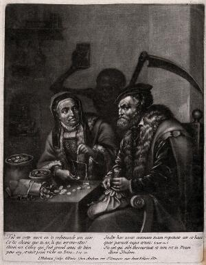 view A man and a woman are counting their money with Death watching, armed with hourglass and scythe. Mezzotint by I. Meheux.