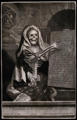 view A skeleton holding an inscribed plaque. Mezzotint.