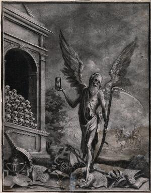 view A winged figure of Death stands on top of a selection of worldly goods and holds an hourglass and a scythe. Mezzotint.