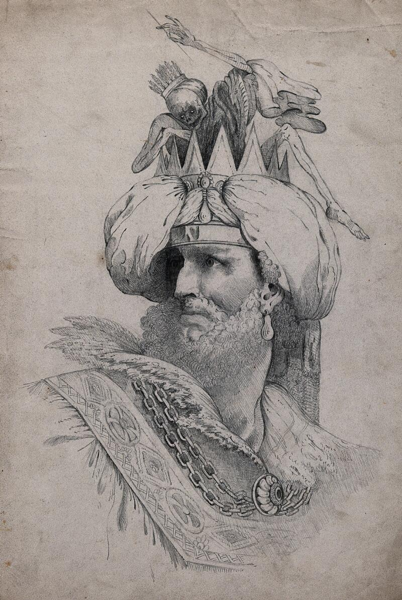 A man wearing a crown in which a figure of death is seated pencil