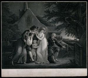view A family contemplates a gravestone. Stipple engraving by F. Bartolozzi after W. Hamilton.