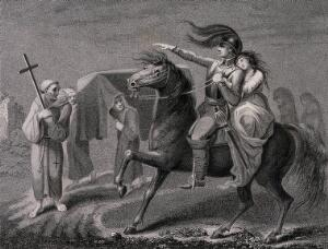 view A knight astride his horse and accompanied by his lover encounters a funeral procession. Engraving by A. Birrell after Lady Diana Beauclerk, 1796.