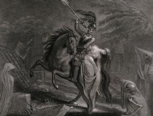 view A figure of Death dressed as a knight points an arrow towards his female companion sitting on the back of his horse. Engraving by Harding after Lady Diana Beauclerk, 1796.