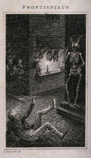 view A fiddler falls over in fright at a skeleton. Etching by Neagle after C. Edgeworth, 1801.