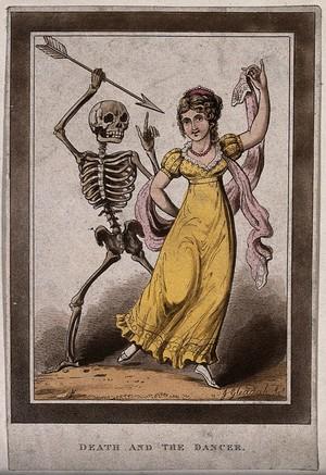 view Death points an arrow at a female dancer. Aquatint by J. Gleadah, 1822.