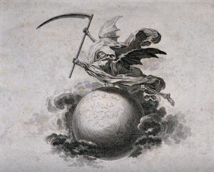 view A winged skeleton holding a scythe flies above a globe. Etching.