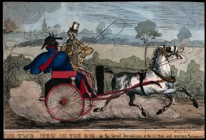 view The Devil and Death in a carriage. Etching by H. Heath, 1831.