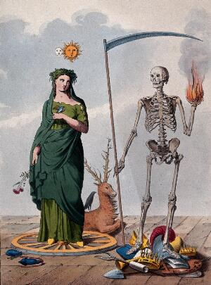 view Two allegorical figures: a skeleton holding a scythe and a ball of fire stands next to a female figure. Lithograph.