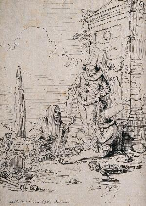 view Death approaches two Pulcinellas. Pen and ink drawing by Camille Rogier.