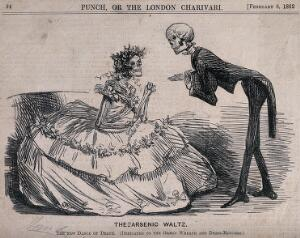 view A skeleton gentleman at a ball asks a skeleton lady to dance; representing the effect of arsenical dyes and pigments in clothing and accessories. Wood engraving, 1862.