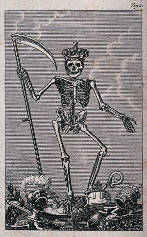 view Death as king holding a scythe. Etching.