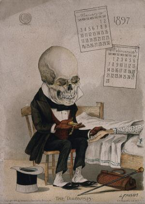 view The diagnosis: a skeletal doctor measures a patient's pulse. Lithograph by L. Crusius, 1897.