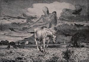 view A ghost-like figure of Death appears riding on a horse holding a scythe. Reproduction of an etching by Soren Lünd, 1900.