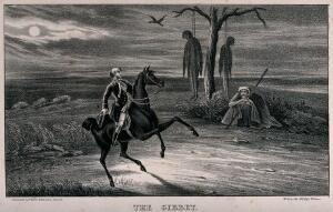 view The highwayman Dick Turpin, on horseback, arrives at a tree from which two bodies have been hanged. Lithograph by W. Clerk, ca. 1839.
