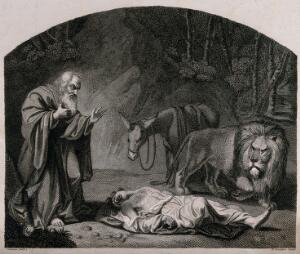 view An old prophet from Bethel finds the body of a man of God from Judah who had been killed by a lion after accepting hospitality against God's command. Engraving by W. Raddon after J. Graham.
