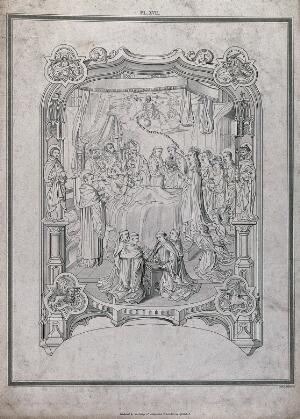view John Islip on his death bed surrounded by saints and monks: the Virgin Mary intercedes for him. Etching by James Basire the elder, 1808.
