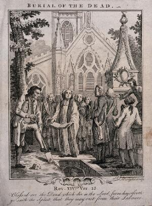 view Burial of the dead in the graveyard of a parish church. Etching by James Taylor.