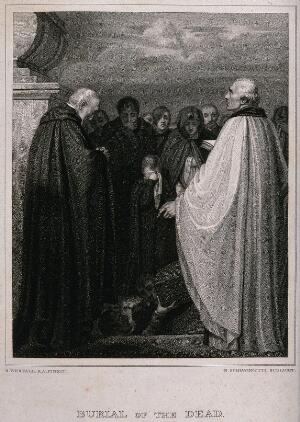 view Mourners attending a burial where the coffin is about to be lowered into the ground. Stipple engraving by N. Schiavonetti after R. Westall, 1812.