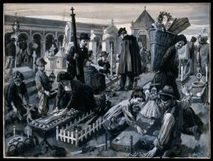 view People decorating the graves of their relatives in a cemetery in Italy for the celebration of All Souls. Gouache painting by Reginald Cleaver.