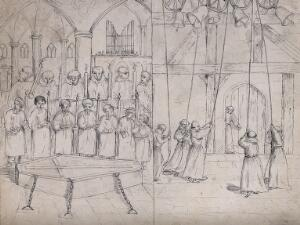 view Left, a choir singing mass for a deceased placed before them in a coffin; right, monks ringing bells in a belfry. Pen and ink drawing.
