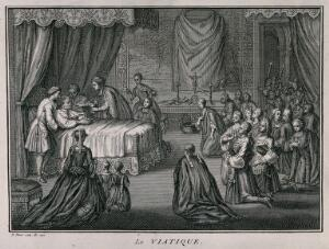 view A priest administering the Eucharist to a dying man. Engraving by B. Picart, 1722.