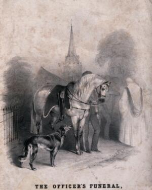 view A dog and a horse attending the funeral of their master, an officer in the army. Lithograph.