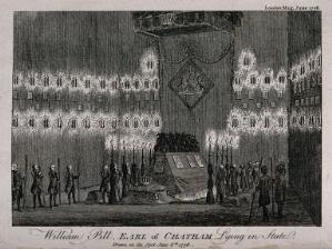 view William Pitt, Earl of Chatham, lying in state. Etching, 1778.