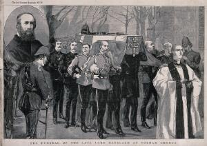 view Funeral of Lord Ranelagh at Fulham Church in London in 1885. Wood engraving, ca. 1885.