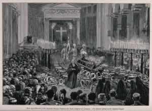 view The funeral of Frederick III, Emperor of Germany, in 1888. Wood engraving, ca. 1888.