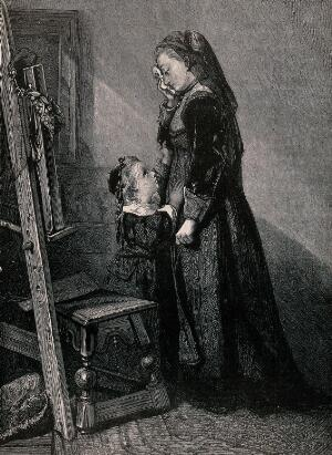 view A grieving widow consoled by her young daughter; both standing before a picture propped up on an easel. Wood engraving by Horace Harral.