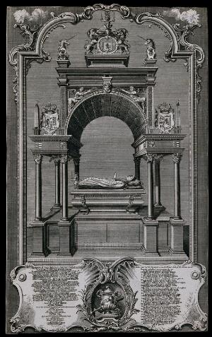 view Monument to Maria Stuart with a stone effigy and numerous heraldic sculptures. Engraving.