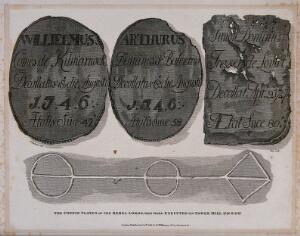 view The coffin plates of the Rebel Lords who were executed on Tower Hill in 1746 and 1747. Etching with engraving by W. Wise after R.B. Schnebbelie, 1816.