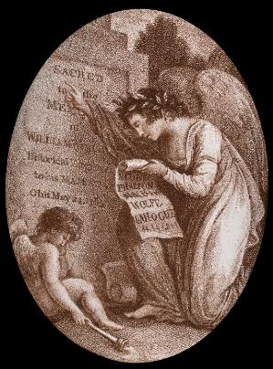 view An angel reading the inscription on the tombstone of William Woollett. Stipple engraving.
