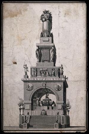 view Design for a Royal monument. Engraving.