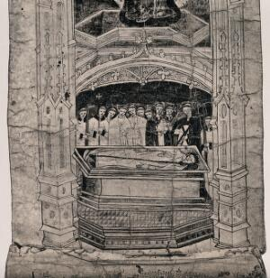 view A clergyman in a coffin holding a crozier is surrounded by a group of mourners. Line block.