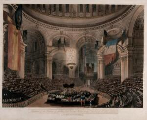 view Funeral of Lord Nelson in St. Paul's Cathedral in 1806. Coloured aquatint with engraving by F.C. Lewis after C.A. Pugin, 1806.