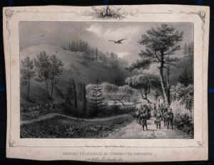 view Visitors in the park near the tomb of Napoleon Bonaparte in St. Helena. Lithograph by V.J. Adam and J. Arnout.
