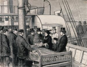 view A delegation laying a wreath on the coffin of David Livingstone after its arrival in Southampton. Wood engraving by H. Harral after G. Durand.