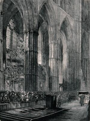 view The grave of David Livingstone in Westminster Abbey. Wood engraving by H. Harral.