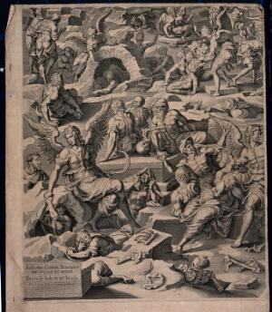 view The graves open on the day of the last judgement. Line engraving with etching by Petrus de Jode after Jean Cousin.