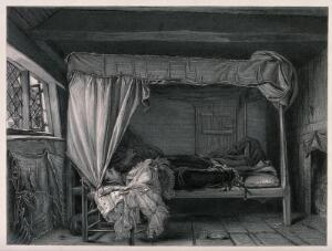 view George Villiers, Duke of Buckingham, on his deathbed after his assassination in Portsmouth in 1628. Line engraving with etching by W. Greatbach after A.L. Egg.