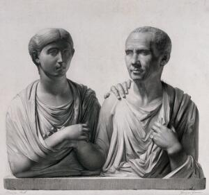 view Roman portrait busts of wife and husband. Line engraving with etching by H.L. Garnier after J.M.N. Bralle.