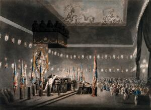 view The remains of Lord Viscount Horatio Nelson lying in state in Greenwich. Coloured aquatint with engraving by M. Merigot after A.C. Pugin, 1806.