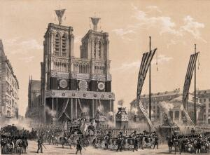 view The funeral cortège of the Duke of Orleans in Paris in 1842. Lithograph after Grenier de Saint Martin and I-L. Deroy, 1842.