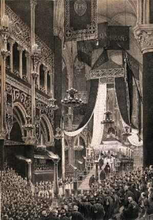 view The funeral service for the Duke of Orleans in Paris in 1842. Lithograph by Courtin and Grenier de Saint Martin, 1842.
