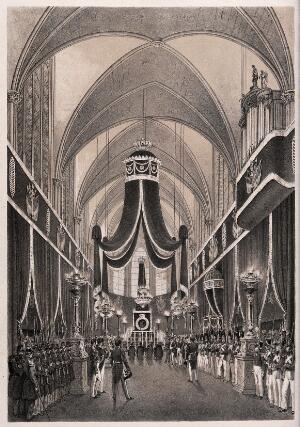 view The funeral service of the Duke of Orleans at Dreux prior to his burial, 1842. Lithograph by Grenier de Saint Martin and I-L. Deroy after N.J. Kellin, 1842.