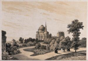 view Chapel and tomb of the family of the Duke of Orleans, seen from the gardens. Lithograph by I-L. Deroy after N.J. Kellin.