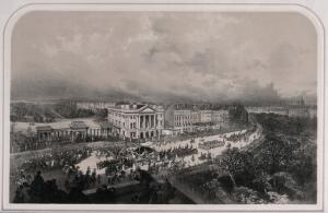 view The funeral procession of the Duke of Wellington passing Apsley House in London in 1852. Lithograph by A. Maclure.